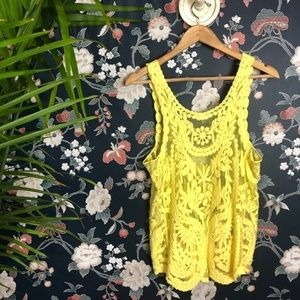 BREEZE EVER Bright yellow lace tank top